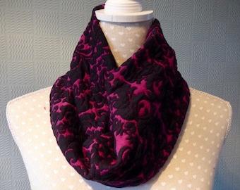 Black and purple snood scarf, lace cowl, purple loop scarf,  purple and black lace snood
