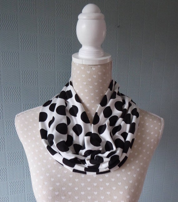 White polka dot snood neck warmer loop scarf spotted cowl Christmas gift unisex