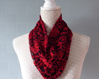 red and black lace snood, gothic lace cowl , goth snood scarf, steampunk loop scarf