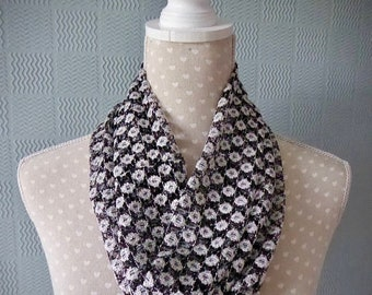 REDUCED Black and white lace snood, lace cowl, necklace scarf, single loop scarf, black and white flowered snood