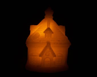 Flameless Christmas Schoolhouse Candle