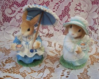 """Blushing Bunnies """"Tea With You"""" and """"Tea and Friendship"""" Figurines"""