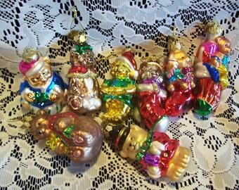 Eight Thomas Picconi Bear Christmas Ornaments