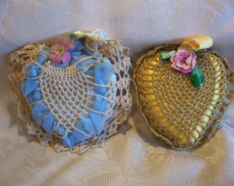Two Vintage Heart Shape Crocheted Pin Cushions