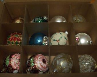 Twelve Assorted Glass Christmas Ornaments