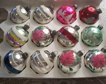 One Dozen Shiny Brite/USA Christmas Ornaments