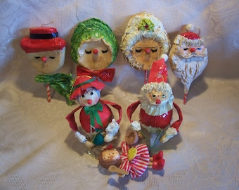 Seven Paper Mache' Christmas Ornaments