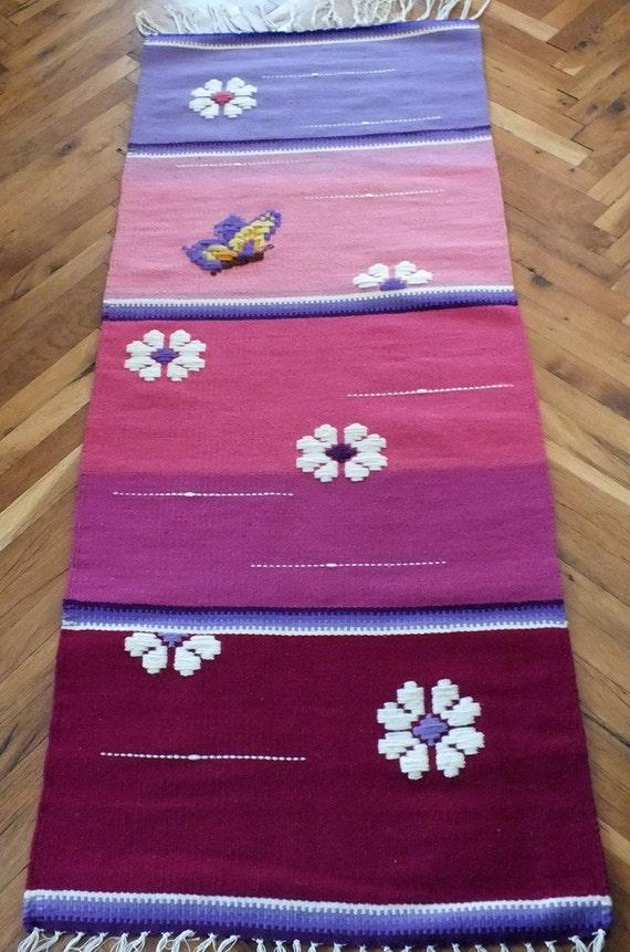 rosa teppich handgewebte wolldecke handgefertigt mit liebe etsy. Black Bedroom Furniture Sets. Home Design Ideas