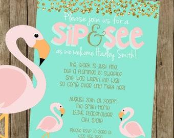 Adoption Baby Shower - Flamingo Baby Shower Invite  - Printable File