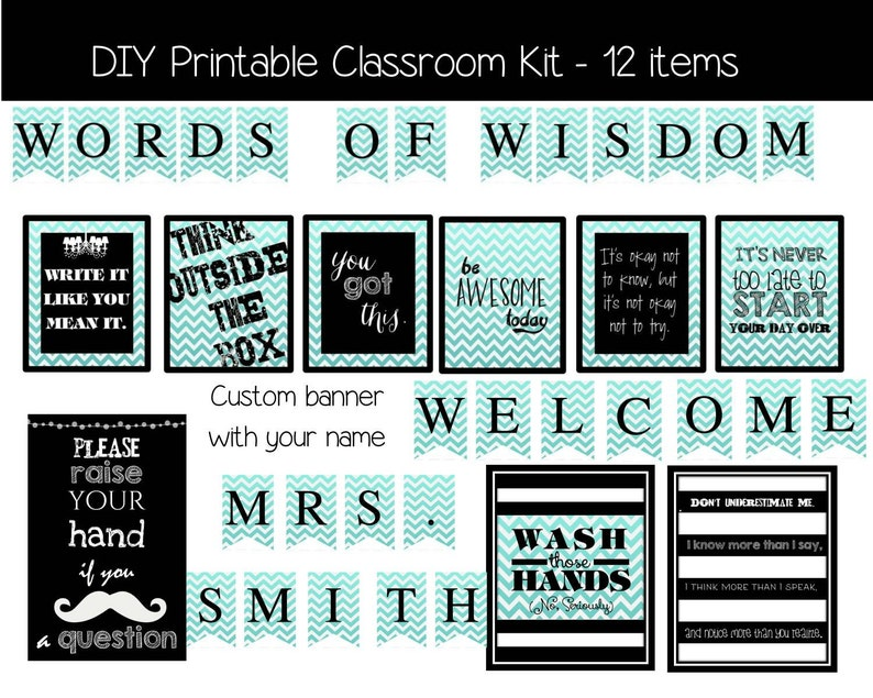 Classroom Decoration Kit Chevron Digital Printable Files Etsy