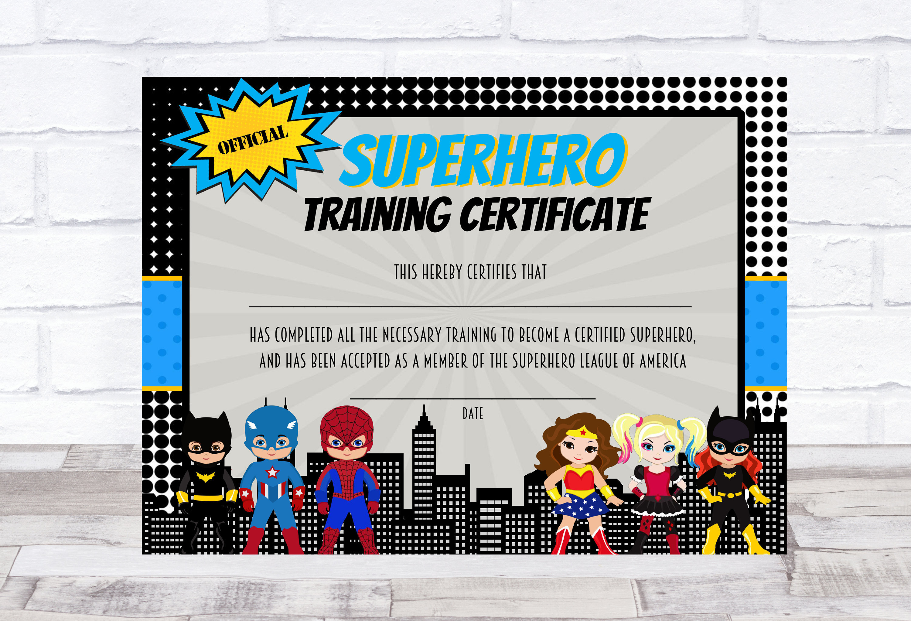 Superhero Certificate Superhero Printable Superhero Training Etsy