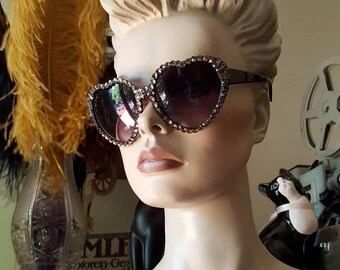 fbc3bdc861 Heart Shaped Rhinestone Sunglasses
