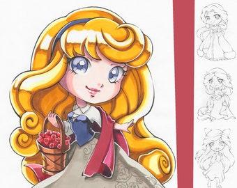 Coloring-Page-Bundle: Kawaii Disney Princesses