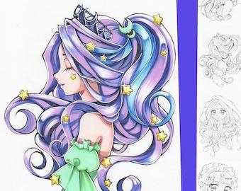 Coloring-Page-Bundle: Moon & Stars