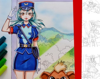 Coloring-Page-Bundle: Pokémon Girls