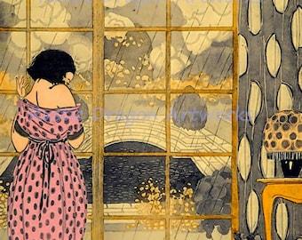 "Anichini ""Young Girl Gazing Out the Window"" Rainy Day Blues Reproduction Digital Print Art Nouveau"