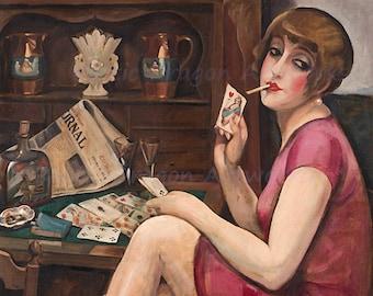 "Gerda Wegener ""Queen of Hearts"" Paris 1928 Reproduction Print Woman Smoking and Playing Cards"