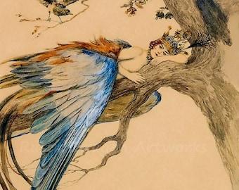 "Sergey Solomko ""Blue Bird Sirin"" 1897 Reproduction Digital Print Art Nouveau Mythological Creature of Russian Legends"