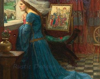 "John Waterhouse ""Fair Rosamund"" 1916  Reproduction Digital Print Castle Medieval Renaissance Middle Ages Knights"