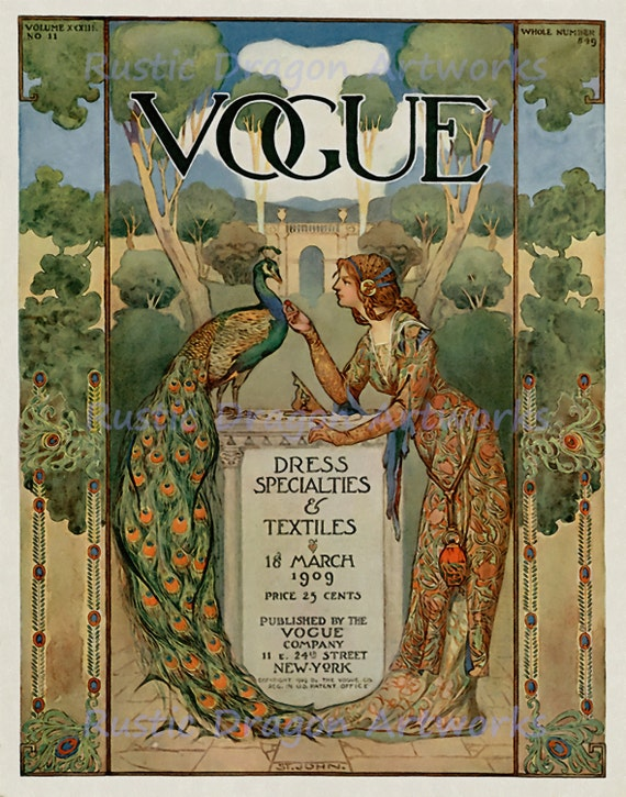 Moon Peacock Bird Vogue 1909 Magazine Cover Vintage Poster Repro FREE SHIPPING