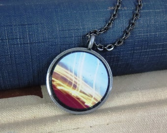 Light Stream Necklace / Long Exposure Necklace / Light Art Necklace / Antiqued Silver Necklace / Artsy Necklace / Artsy Light Design