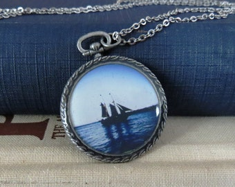 Ship Pendant / Boat Pendant / Hope Pendant / Resin Pendant / Antiqued Silver / Pocket Watch Pendant