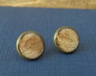 Map Earrings / Antique Map Earrings / Explore Earrings / Adventure Earrings / Stud Earrings / Resin Earrings / Antiqued Bronze Earrings