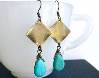 Bronze Square Earrings / Turquoise Earrings / Metal Earrings / Dangle Earrings / Metal Dangle Earrings / Metal Square Dangle Earrings