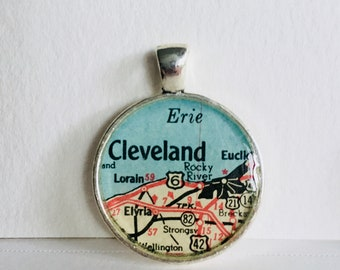 Cleveland, OH Map Pendant