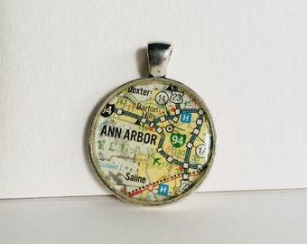 Ann Arbor, MI Map Pendant