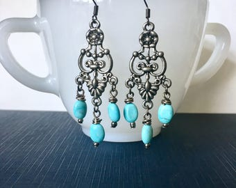 Teal Bead Earrings / Dangle Earrings / Gunmetal Earrings / Antique Silver Earrings / Teal Earrings / Wire Wrapped Earrings