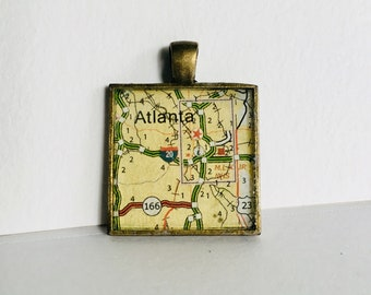 Atlanta, GA Map Pendant