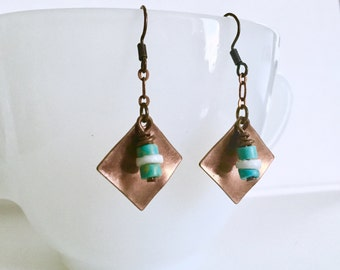 Copper Square Earrings / Teal and White Earrings / Metal Earrings / Dangle Earrings / Metal Dangle Earrings / Metal Square Dangle Earrings