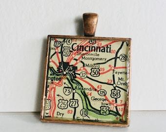 Cincinnati, OH Map Pendant