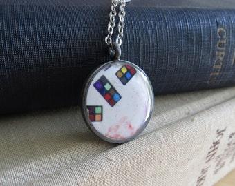 Watercolor Paint Necklace / Watercolor Pendant / Painter Necklace / Artist Necklace / Antiqued Silver Necklace / Paint Pendant