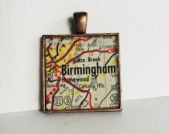 Birmingham, AL Map Pendant