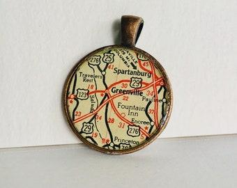 Greenville, SC Map Pendant Necklace