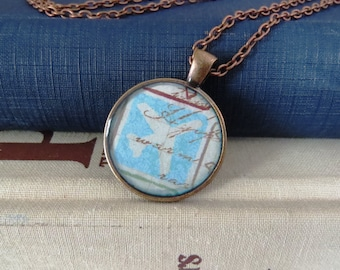 Airplane Necklace / Airplane Pendant / Light Blue Airplane Necklace / Travel Necklace / Adventure Necklace / Antiqued Copper Necklace