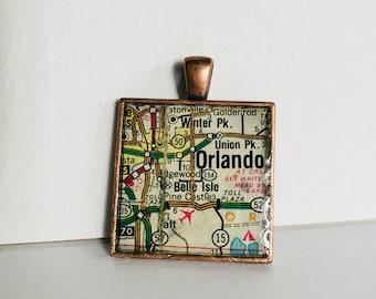 Orlando, FL Map Pendant