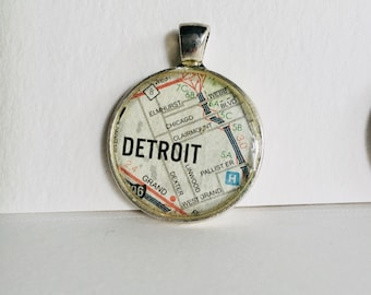 Detroit, MI Map Pendant