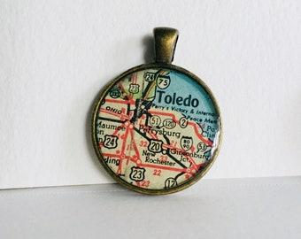 Toledo, OH Map Pendant