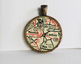 Akron/Canton, OH Map Pendant