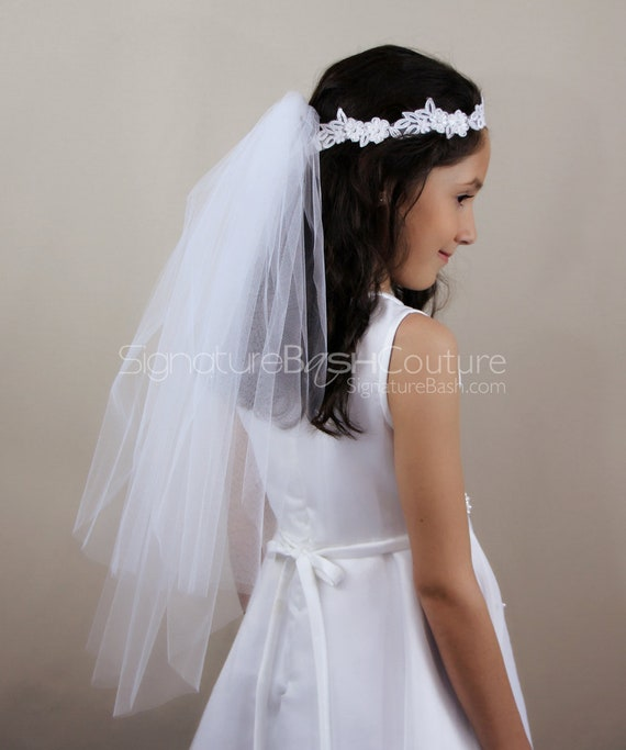 """Girls 1st Communion Wedding White Veil 2 Layers Tulle Headpiece with Pearl 22/"""""""