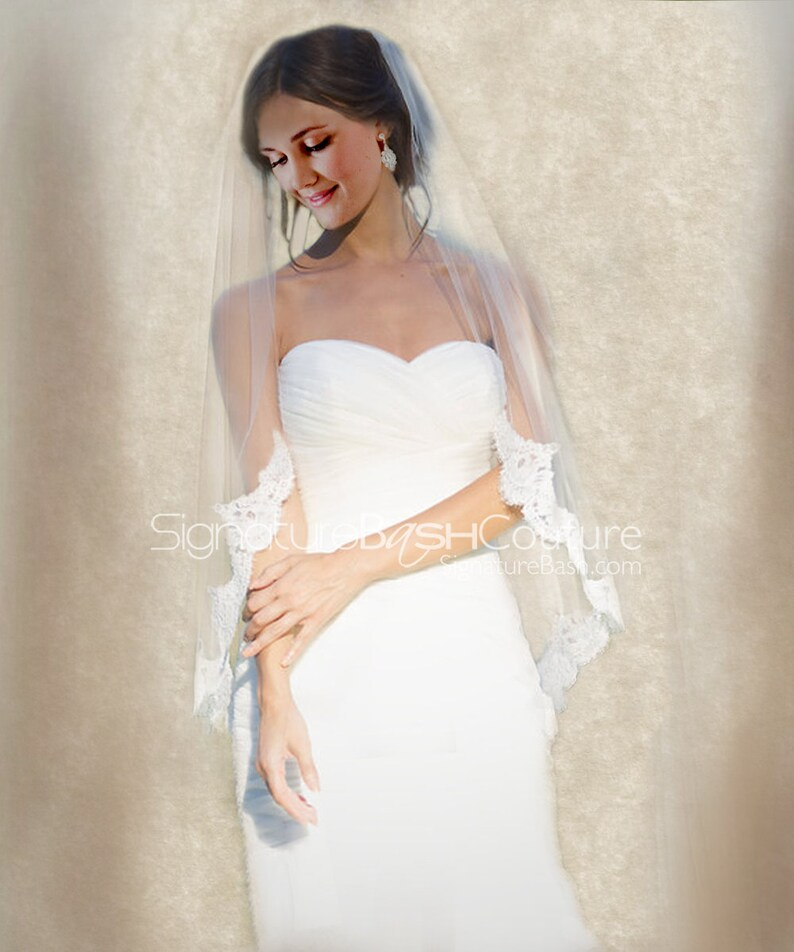 39390af7edcf Partial Lace Edged Veil Lace Starting at Elbow Single Tier