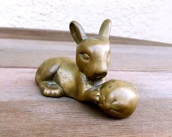 Vintage Brass Bunny Rabbit Figurine Paperweight