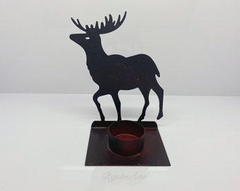 Metal Deer Pillar Candle Holder Set Rustic Cabin Lodge Decor Buck Elk Holiday