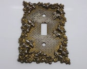 Vintage Brass Metal Light Switch Plate 1967