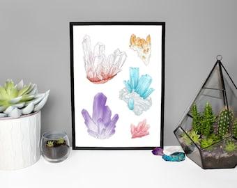 Original Artwork Crystal Print - Quartz - Rose Quartz - Citrine - Amethyst - Aquamarine A4 / A5