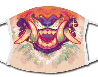 Face Mask - Snarling Tiger - Reusable Mouth mask, cotton, polyester, animal