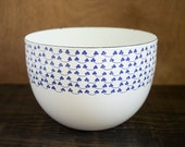 Vintage Kaj Franck Blue and White Enamel and Metal Clover Bowl Finel Arabia Finland